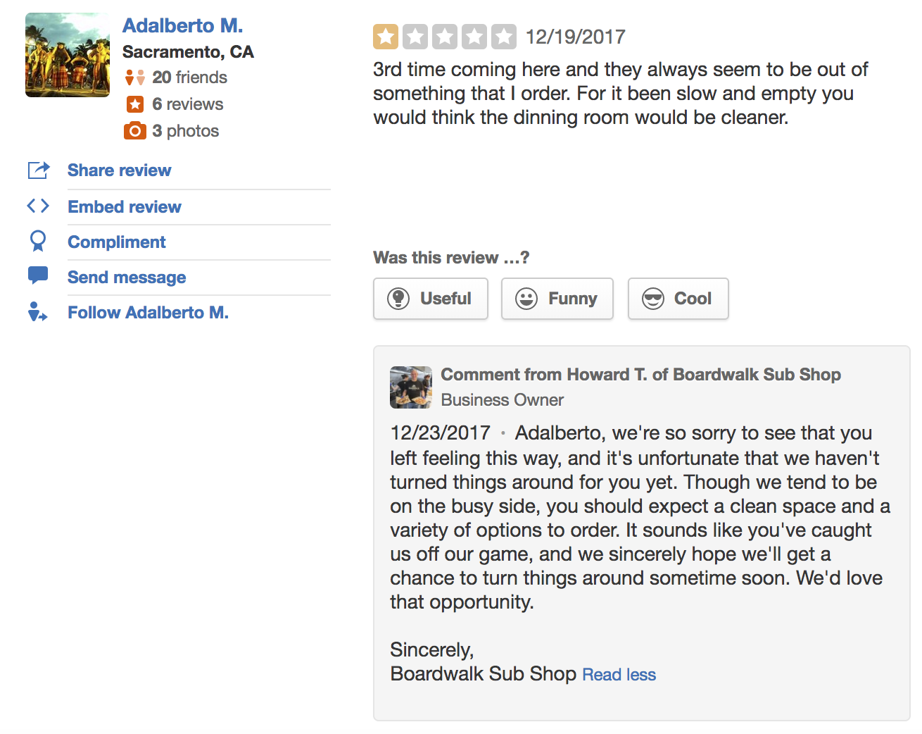 funny responses to negative reviews